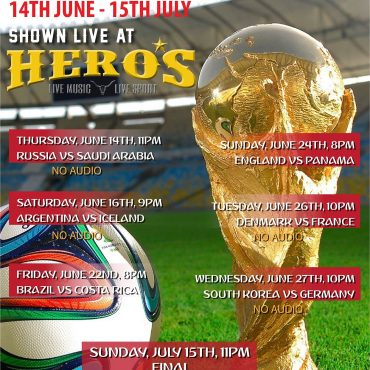 Catch selected World Cup matches at Hero's
