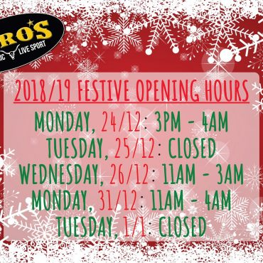 Festive Opening Hours 2018/19