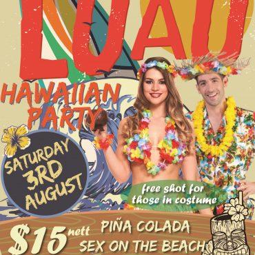 Hawaiian Luau Party Sat, Aug 3rd!