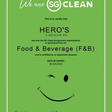 Hero's is SG Clean-certified